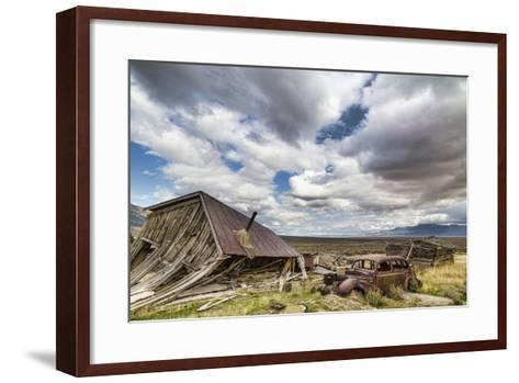 Nevada, Cherry Creek. Collapsed Building and Rusted Vintage Car-Jaynes Gallery-Framed Art Print