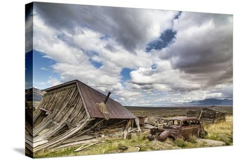 Nevada, Cherry Creek. Collapsed Building and Rusted Vintage Car-Jaynes Gallery-Stretched Canvas Print