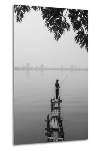 Vietnam, Hanoi. Tay Ho, West Lake, Fisherman-Walter Bibikow-Metal Print