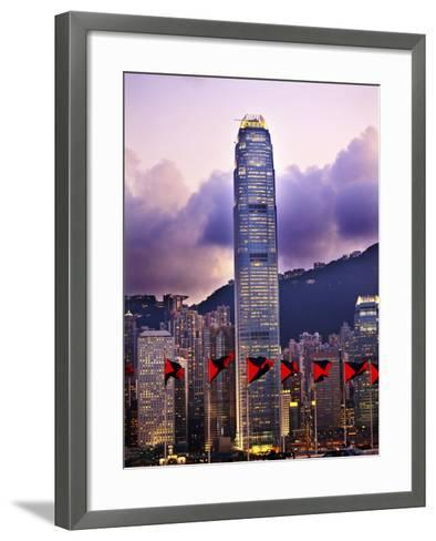 Two International Finance Centre Hong Kong Harbor Sunset Red Flags from Kowloon-William Perry-Framed Art Print