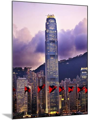 Two International Finance Centre Hong Kong Harbor Sunset Red Flags from Kowloon-William Perry-Mounted Photographic Print