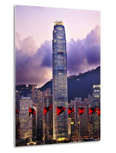 Two International Finance Centre Hong Kong Harbor Sunset Red Flags from Kowloon-William Perry-Metal Print