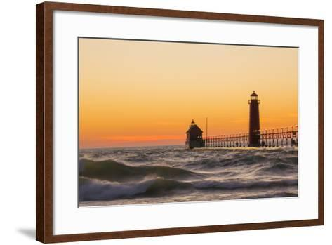 Grand Haven South Pier Lighthouse at Sunset on Lake Michigan, Ottawa County, Grand Haven, Mi-Richard and Susan Day-Framed Art Print