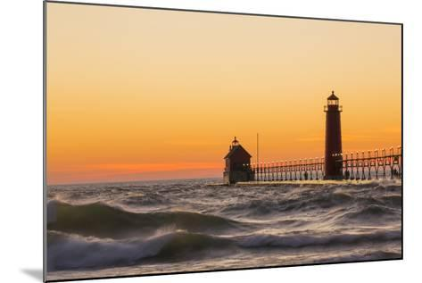 Grand Haven South Pier Lighthouse at Sunset on Lake Michigan, Ottawa County, Grand Haven, Mi-Richard and Susan Day-Mounted Photographic Print