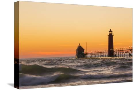 Grand Haven South Pier Lighthouse at Sunset on Lake Michigan, Ottawa County, Grand Haven, Mi-Richard and Susan Day-Stretched Canvas Print