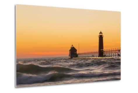 Grand Haven South Pier Lighthouse at Sunset on Lake Michigan, Ottawa County, Grand Haven, Mi-Richard and Susan Day-Metal Print