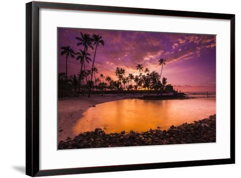 Sunset over Pu'Uhonua O Honaunau National Historic Park, Kona Coast, Hawaii-Russ Bishop-Framed Art Print