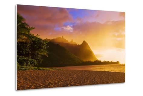 Evening Light on Na Pali Coast Spires from Tunnels Beach, Island of Kauai, Hawaii-Russ Bishop-Metal Print