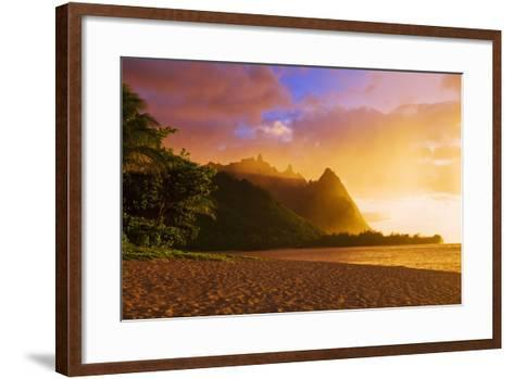 Evening Light on Na Pali Coast Spires from Tunnels Beach, Island of Kauai, Hawaii-Russ Bishop-Framed Art Print