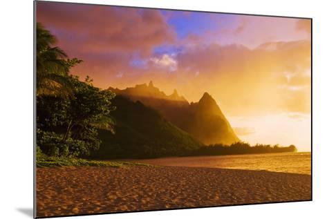 Evening Light on Na Pali Coast Spires from Tunnels Beach, Island of Kauai, Hawaii-Russ Bishop-Mounted Photographic Print