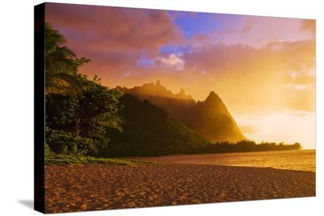Evening Light on Na Pali Coast Spires from Tunnels Beach, Island of Kauai, Hawaii-Russ Bishop-Stretched Canvas Print