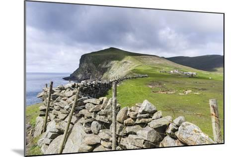 Shetland Islands, Foula, Hametown Settlement. Stone Fence around the Cliffs-Martin Zwick-Mounted Photographic Print