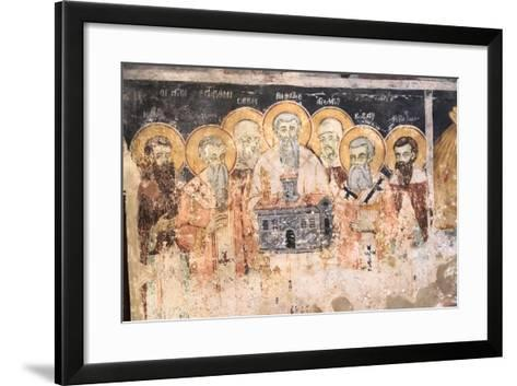 Macedonia, Lake Ohrid. St. Naum Monastery. Frescos of St. Cyril and Methody and Students-Emily Wilson-Framed Art Print