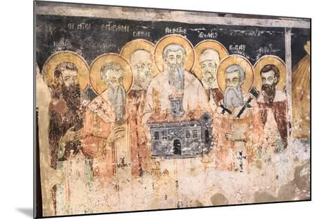 Macedonia, Lake Ohrid. St. Naum Monastery. Frescos of St. Cyril and Methody and Students-Emily Wilson-Mounted Photographic Print