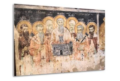 Macedonia, Lake Ohrid. St. Naum Monastery. Frescos of St. Cyril and Methody and Students-Emily Wilson-Metal Print