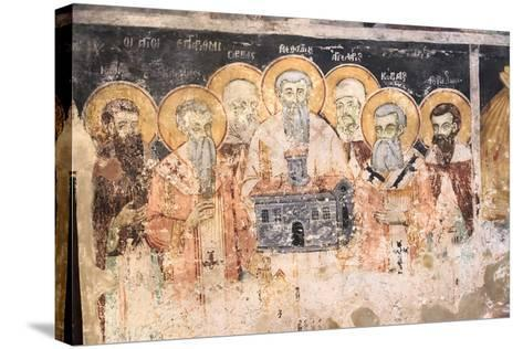 Macedonia, Lake Ohrid. St. Naum Monastery. Frescos of St. Cyril and Methody and Students-Emily Wilson-Stretched Canvas Print