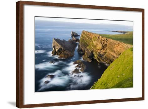Foula Part of Shetland Islands. Cliffs in North at East Hoevdi with Natural Arch Gaada Stack-Martin Zwick-Framed Art Print