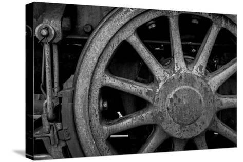 Nevada, Ely. Black and White of Train Wheel-Jaynes Gallery-Stretched Canvas Print