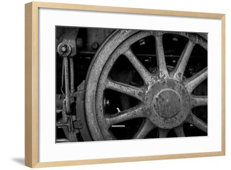 Nevada, Ely. Black and White of Train Wheel-Jaynes Gallery-Framed Art Print