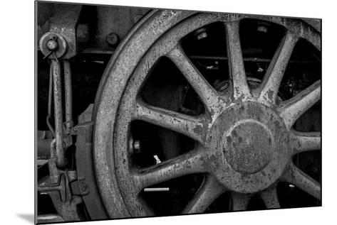 Nevada, Ely. Black and White of Train Wheel-Jaynes Gallery-Mounted Photographic Print