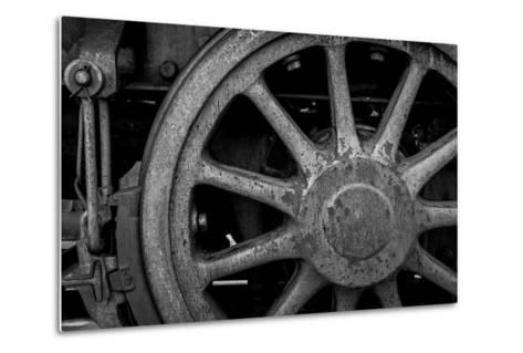 Nevada, Ely. Black and White of Train Wheel-Jaynes Gallery-Metal Print