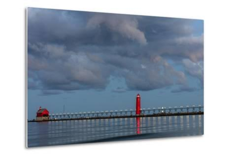 Sunrise Clouds over Lake Michigan and the Grand Haven Lighthouse in Grand Haven, Michigan, Usa-Chuck Haney-Metal Print