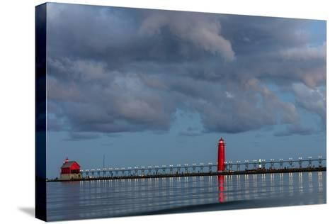 Sunrise Clouds over Lake Michigan and the Grand Haven Lighthouse in Grand Haven, Michigan, Usa-Chuck Haney-Stretched Canvas Print