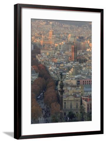 Looking Down the La Rambla from the Montjuic Cable Car in Barcelona, Spain-Paul Dymond-Framed Art Print