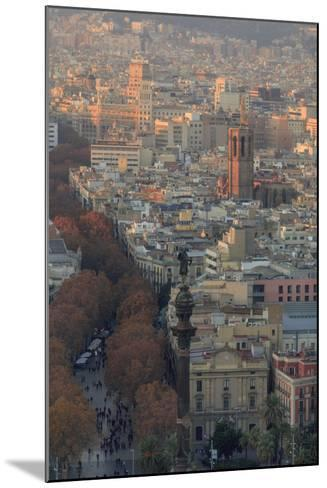 Looking Down the La Rambla from the Montjuic Cable Car in Barcelona, Spain-Paul Dymond-Mounted Photographic Print