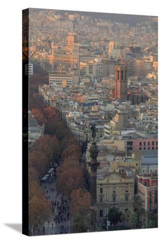 Looking Down the La Rambla from the Montjuic Cable Car in Barcelona, Spain-Paul Dymond-Stretched Canvas Print