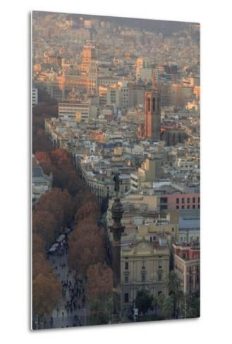Looking Down the La Rambla from the Montjuic Cable Car in Barcelona, Spain-Paul Dymond-Metal Print