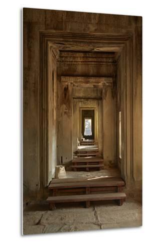 Doorways, Inner Gallery, Khmer Temple, Angkor World Heritage Site, Siem Reap, Cambodia-David Wall-Metal Print