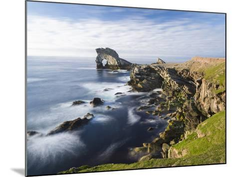 Foula Part of Shetland Islands. Cliffs in North at East Hoevdi with Natural Arch Gaada Stack-Martin Zwick-Mounted Photographic Print