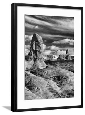 Turret Arch and La Sal Mountains at Sunset with Clouds, Utah, Arches National Park-Judith Zimmerman-Framed Art Print