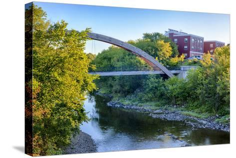 Gateway Crossing Pedestrian Bridge Spans the Meduxnekeag River in Houlton, Maine. Hdr-Jerry and Marcy Monkman-Stretched Canvas Print