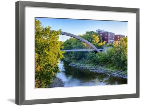 Gateway Crossing Pedestrian Bridge Spans the Meduxnekeag River in Houlton, Maine. Hdr-Jerry and Marcy Monkman-Framed Art Print