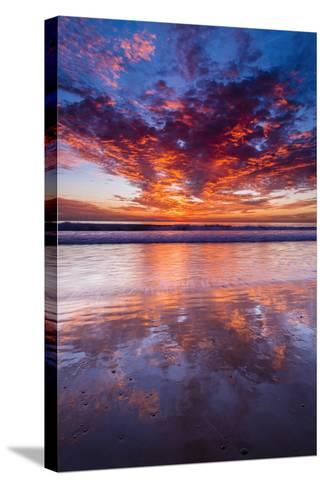 Sunset over the Channel Islands from Ventura State Beach, Ventura, California, Usa-Russ Bishop-Stretched Canvas Print