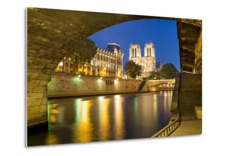 Twilight under Pont Saint Michel with Cathedral Notre Dame, Paris-Brian Jannsen-Metal Print