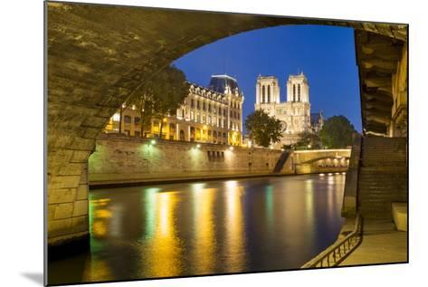 Twilight under Pont Saint Michel with Cathedral Notre Dame, Paris-Brian Jannsen-Mounted Photographic Print
