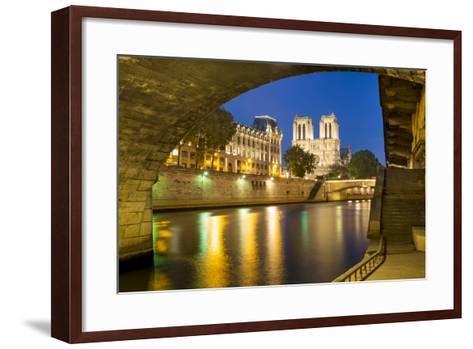 Twilight under Pont Saint Michel with Cathedral Notre Dame, Paris-Brian Jannsen-Framed Art Print