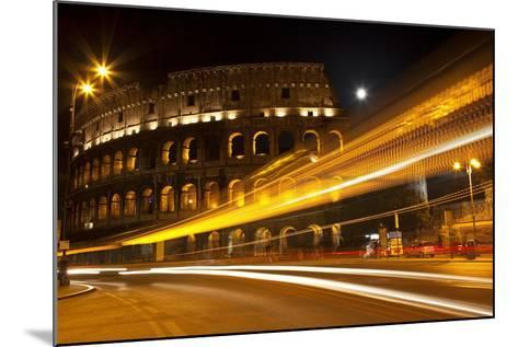 Colosseum Modern Street Abstract Night Moon Time Lapse, Rome, Italy Built by Vespacian-William Perry-Mounted Photographic Print