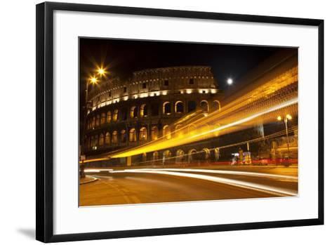Colosseum Modern Street Abstract Night Moon Time Lapse, Rome, Italy Built by Vespacian-William Perry-Framed Art Print