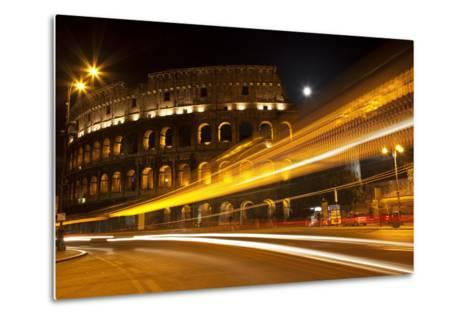 Colosseum Modern Street Abstract Night Moon Time Lapse, Rome, Italy Built by Vespacian-William Perry-Metal Print