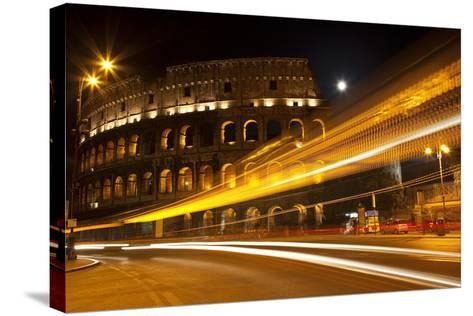 Colosseum Modern Street Abstract Night Moon Time Lapse, Rome, Italy Built by Vespacian-William Perry-Stretched Canvas Print