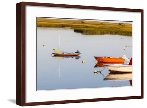 A Cormorant Opens its Wings on a Skiff in Pamet Harbor in Truro, Massachusetts-Jerry and Marcy Monkman-Framed Art Print