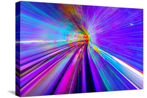 Blue Purple Rail Abstract Underground Railway Pudong Bund Shanghai, China. Black Hole of Shanghai-William Perry-Stretched Canvas Print