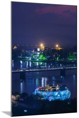 Vietnam, Hue. Trang Tien Bridge and Perfume River, Elevated View, Dusk-Walter Bibikow-Mounted Photographic Print