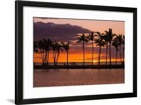Sunset Through Silhouetted Palms at Anaehoomalu Bay, Kohala Coast, the Big Island, Hawaii, Usa-Russ Bishop-Framed Art Print