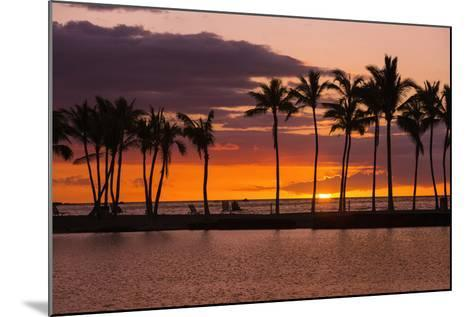Sunset Through Silhouetted Palms at Anaehoomalu Bay, Kohala Coast, the Big Island, Hawaii, Usa-Russ Bishop-Mounted Photographic Print