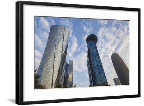 Qatar, Doha, Doha Bay, West Bay Skyscrapers, Dusk-Walter Bibikow-Framed Art Print